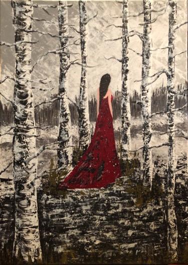 Dame rouge en forêt enneigée c'est un oeuvre de Kate_Art Galerie présentant la femme dans une jolie robe rouge s'éloignant dans une forêt enneigée