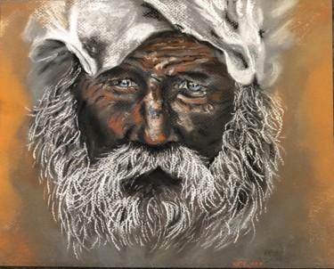 """Dans la Galerie d'oeuvres de site """"Old Man"""" - c'est un dessin fait au pastels sec, portrait d'un viel homme avec une barbe et moustache blanche, les yeux bleues et peau foncé, signé Kate_Art"""