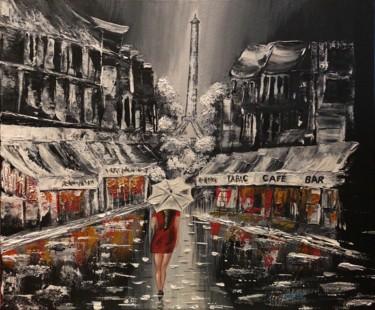 Lady in the rain in the street of Paris Une toile en Cotton avec le cadre en bois. Peinture présente Paris sous la pluie avec une demoiselle qui se promène sous la Tour Eiffel. La pluie laisse les reflets des lumières des commerces dans les flaques d'eau. Tableau fait en acrylique tout couteau