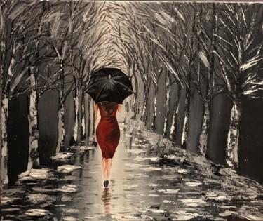Black Umbrella - Acrylique sur toile fait au couteau présentant une femme marchant vers une allée d'arbres dans la pluie, fond noir et blanc