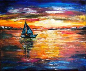 Sunset sail - peinture acrylique fait au couteau avec une bêteau sur la mer au couchet de soleil