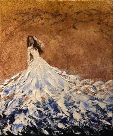 """Married with the sea, c'est-à-dire, """"Marié de la mer"""" - l'oeuvre de KAte_Art Galerie, création de l'artiste Katarzyna Boduch, fait au couteau avec de l'acrylique et le sable, présentant la femme vêtu de blanc avec le bas de sa robe qui se fond dans la vague de la mer"""