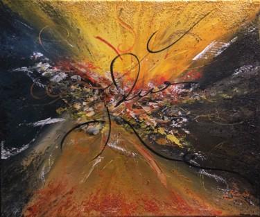 Lumière sorti du chaos, c'est un oeuvre de Kate_Art Galerie, de l'auteur Katarzyna Boduch au couleurs chaud du jaune et orange sortant du chaos du noir estompé avec des reliefs blanc nor jaune et otange fait au couteau avec le mélange du sable tout au tour de la peinture