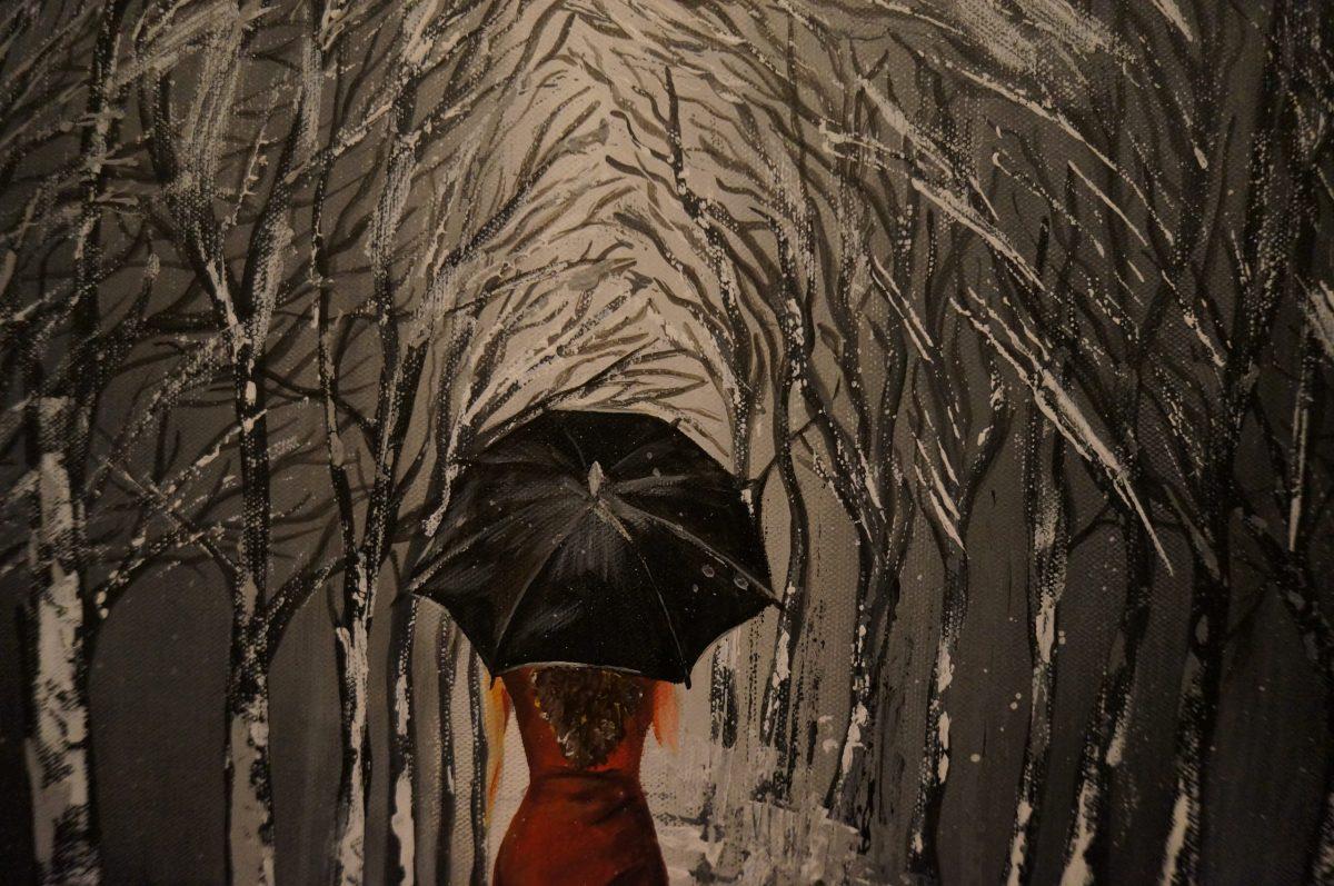 Black Umbrella - peinture acrylique , grand plan du milieu de toile sur les branches d'arbres qui se rejoingent