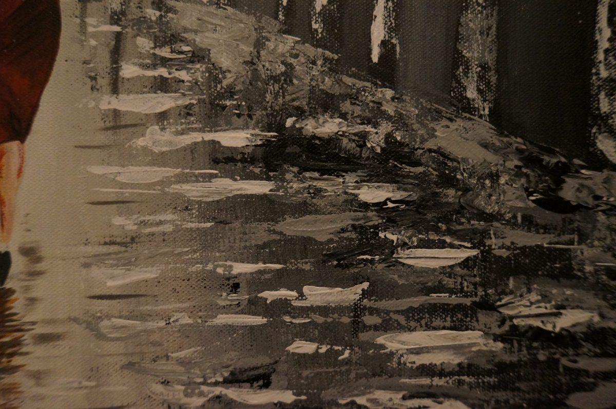Black Umbrella - peinture acrylique , grand plan sur la route brillante avec le flaques d'eau de la pluie fait au couteau noir, blanc gris