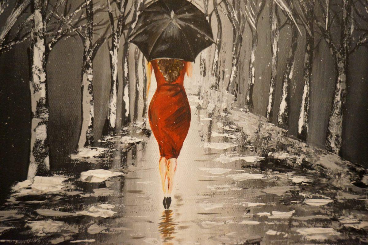 Black Umbrella - peinture acrylique , grand plan du milieu de toile sur la femme avec son parapluie noir