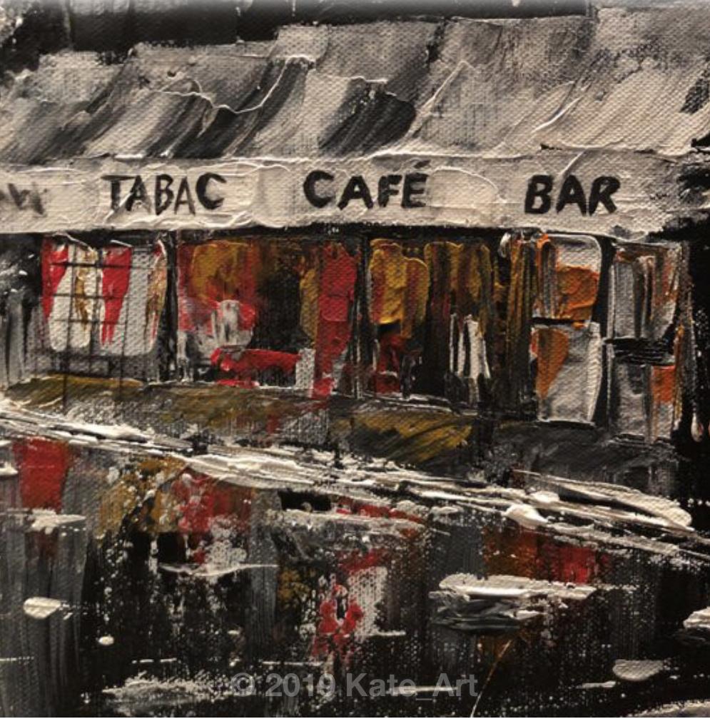 Lady in the rain in the street of Paris - peinture acrylique fait au couteau - les boutiques sous la pluie avec les lumières des vitrines