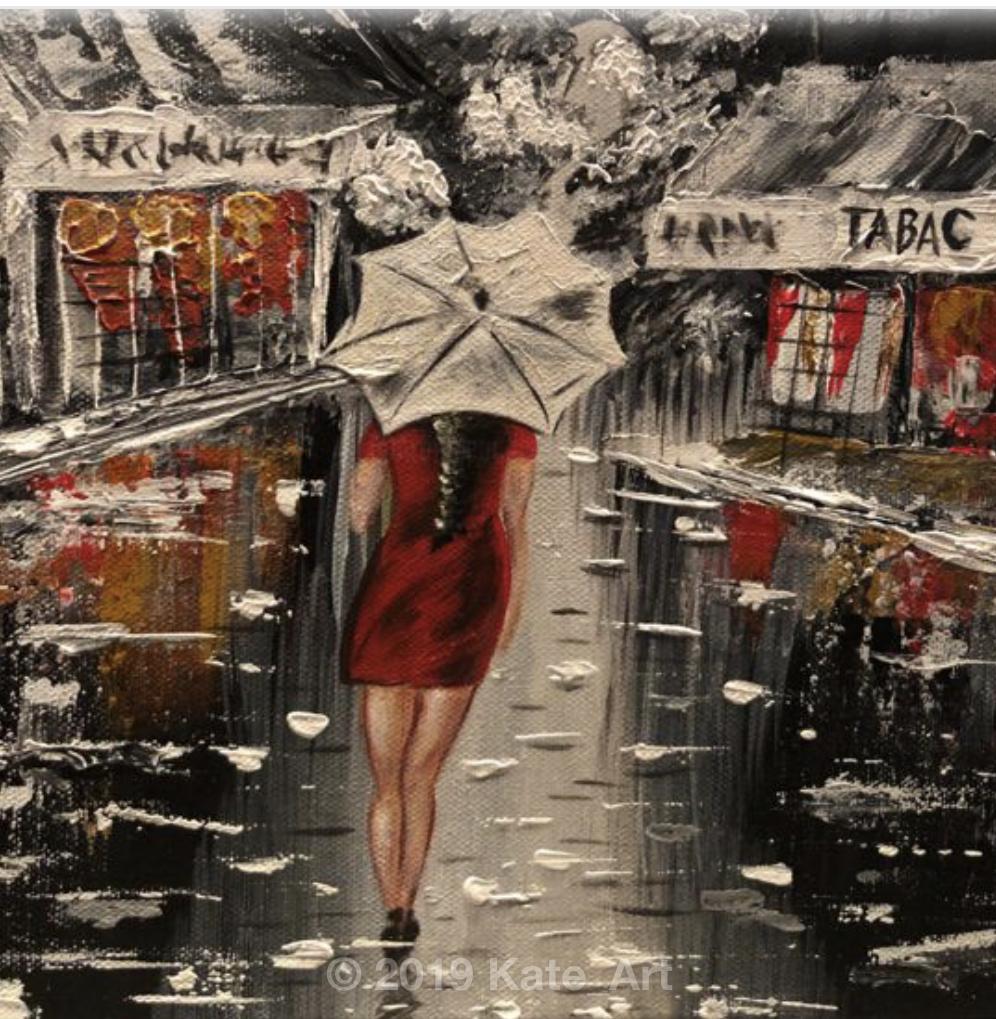 Lady in the rain in the street of Paris - peinture acrylique fait au couteau avec un grand plan sur la famme avec son parapluie blanc.
