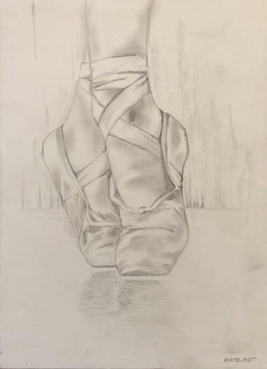 Baletki un dessin fait au crayon et graphite de chaussures de danceuse sur les pointes