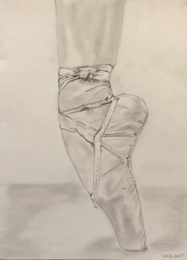 sur la pointe - dessin au crayon et graphite d'une chaussure de danceuse sur la pointe de pied