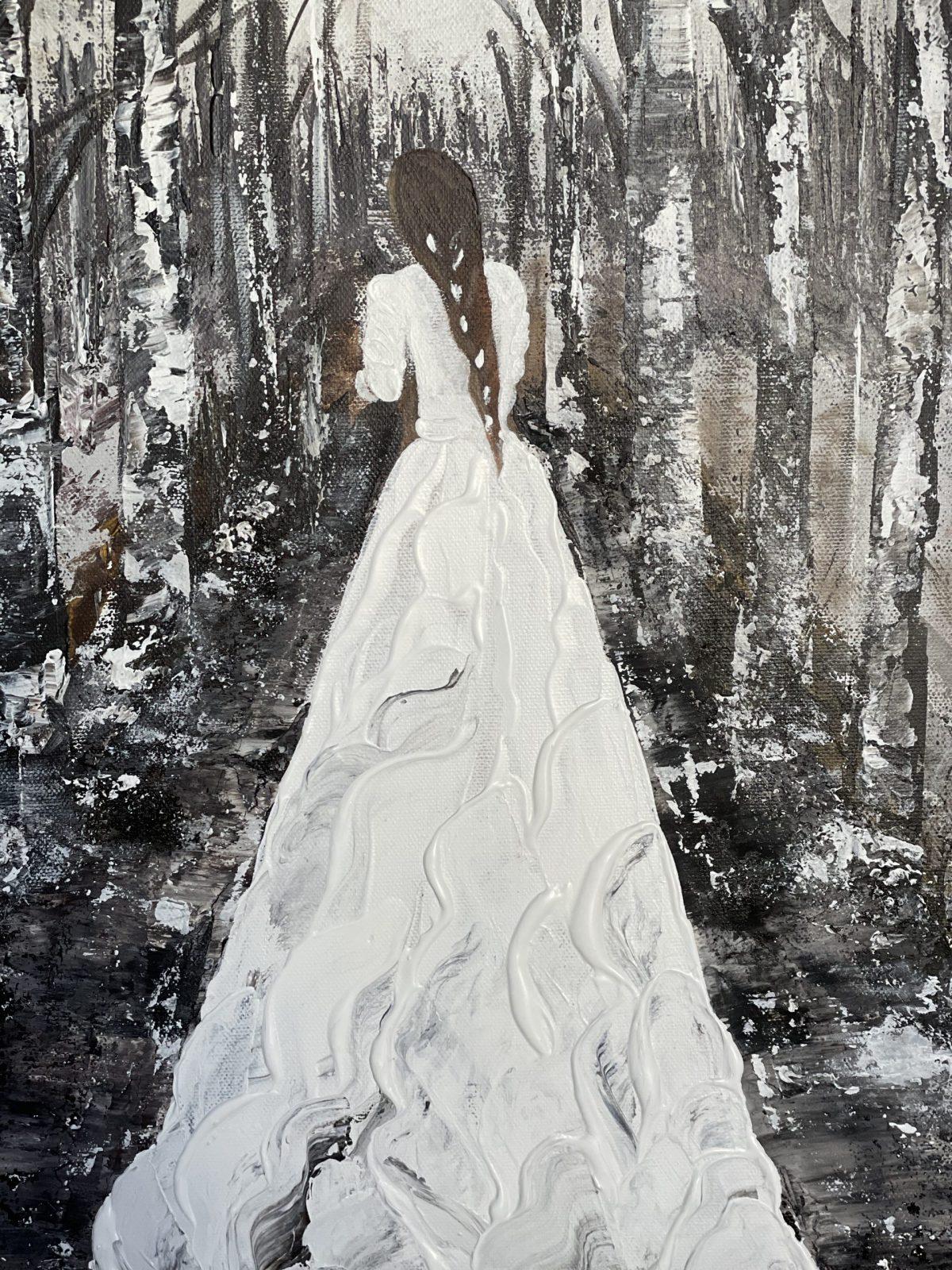 La mariée dans la forêt enneigée Kate_art Galerie, gros plan sur la mariée