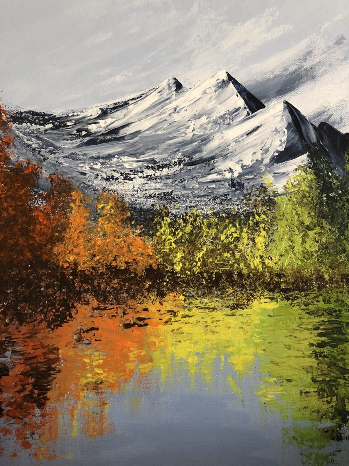 The Colorful lake acrylique sur toile inspiré, Signé Kate_Art