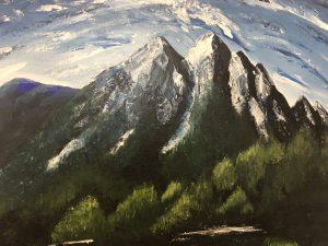 Blue mountains toile fait au couteau par Katarzyna Boduch