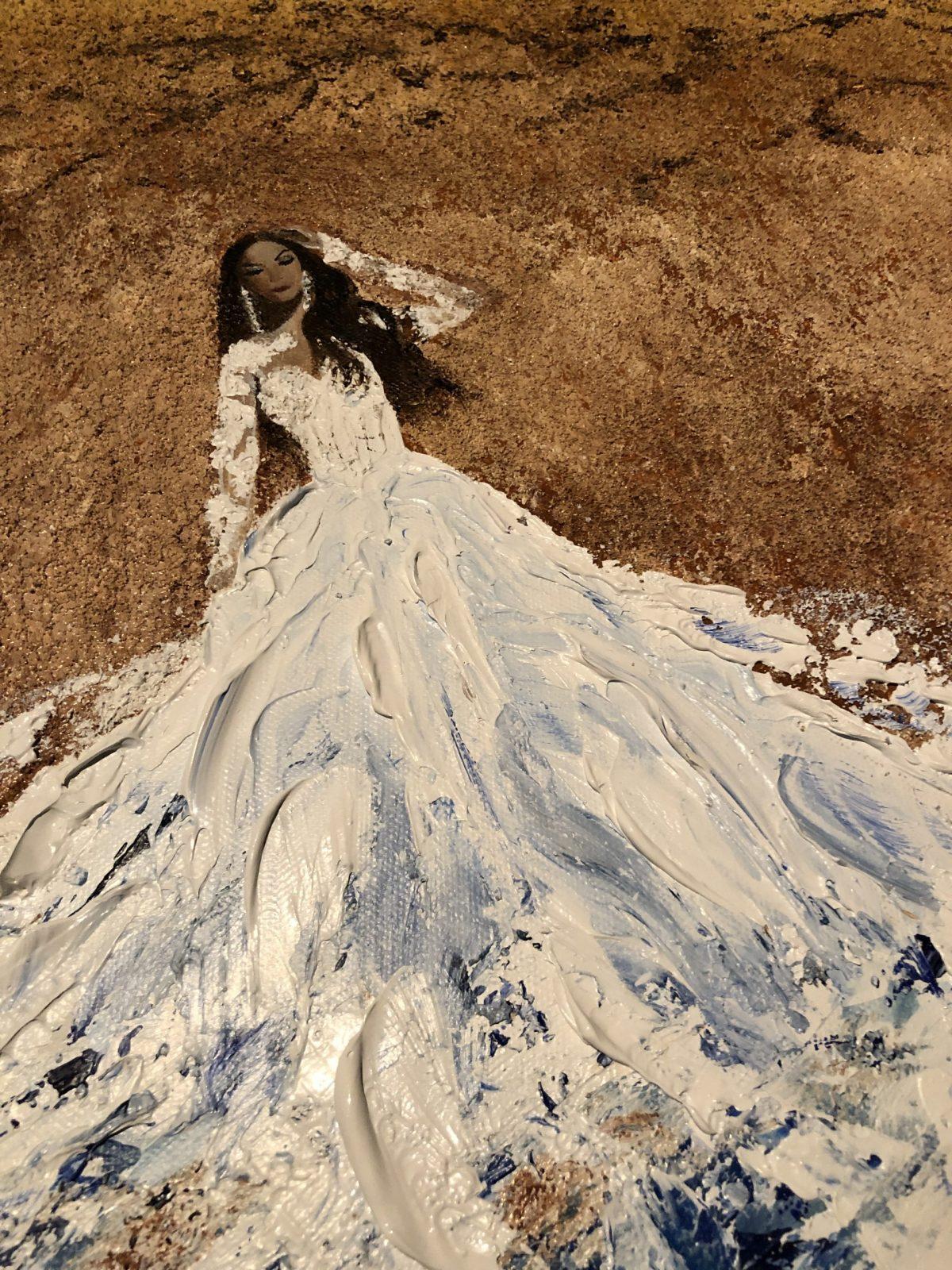Married with the sea, acrylique sur toile fait au couteau, gros plan sur la robe en texture