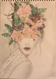 portrait de dessin de logo de Kate_Art Galerie dessiné par son auteur Katarzyna Boduch peintre polonaise