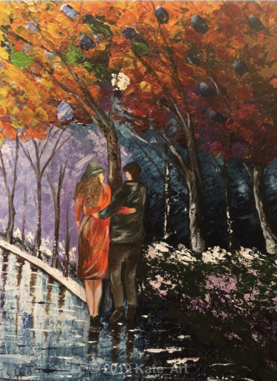 In the park, gros plan sur le couple, travaillé au couteau à palette