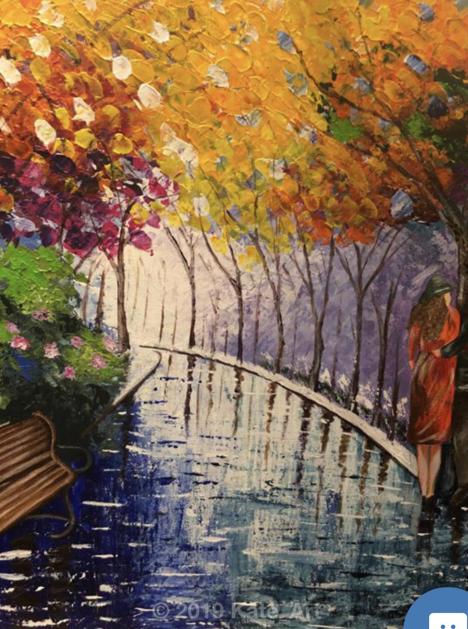 In the park, gros plan sur le centre du tableau sur l'allée et les arbres colorés fait au couteau à palette
