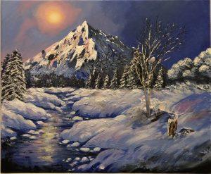 A snowy ewening peinture acrylique fait au couteau par Katarzyna Boduch