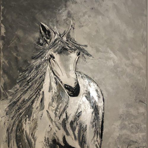 A horse on the snowy winter réalisation de Kate_Art Galerie
