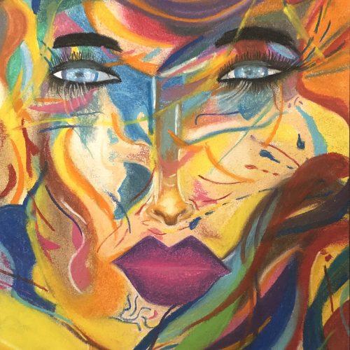 Visage coloré dessin fait aux pastels secs par Katarzyna Boduch