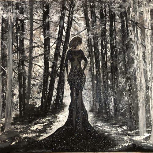 La veuve noire tableau enter d'une femme vêtu de noir entrant dans une fôter en noir et blanc