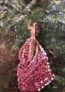 Une femme fleuri au jardin tropical réalisé par Katarzyna Boduch