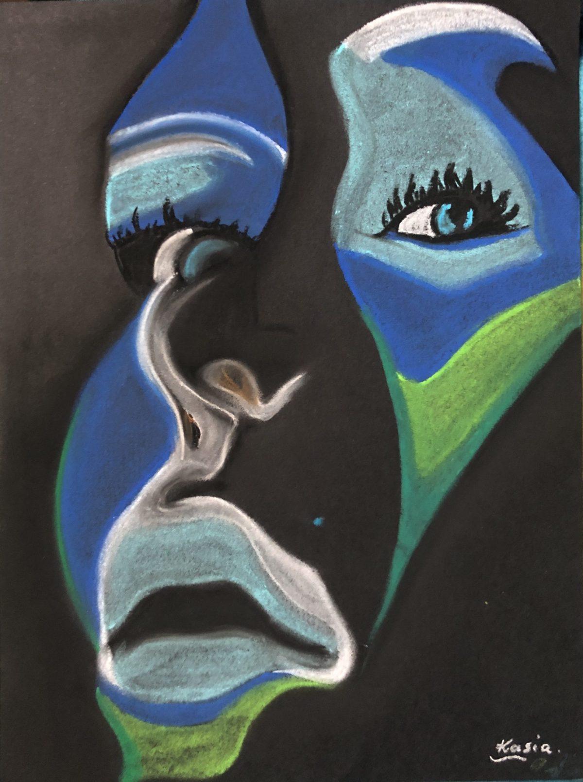 sur le fond noir est un dessin pastel fd'un visage abstrait dessiné par Katzryna Boduch, signé Kasia