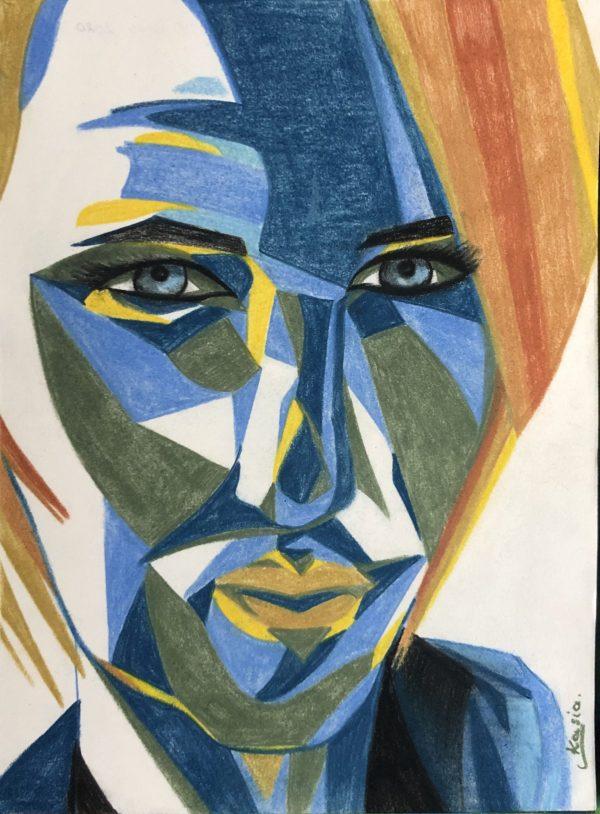 Visage coloré - moi fait aux crayons couleurs, signé Kasia de l'auteur Katarzyna Boduch
