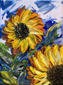 Sunflowers Acrylique sur toile texture fait au couteau par Katarzyna Boduch