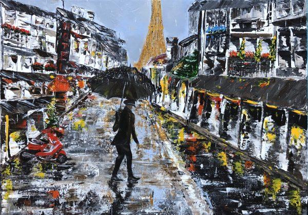 LE PARISIEN est une toile réaliser au couteau avec de l'acrylique dans les rues de paris avec une our eiffel au loin