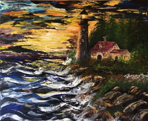 The lighthouse under the waves peint au couteau par Katarzyna Boduch