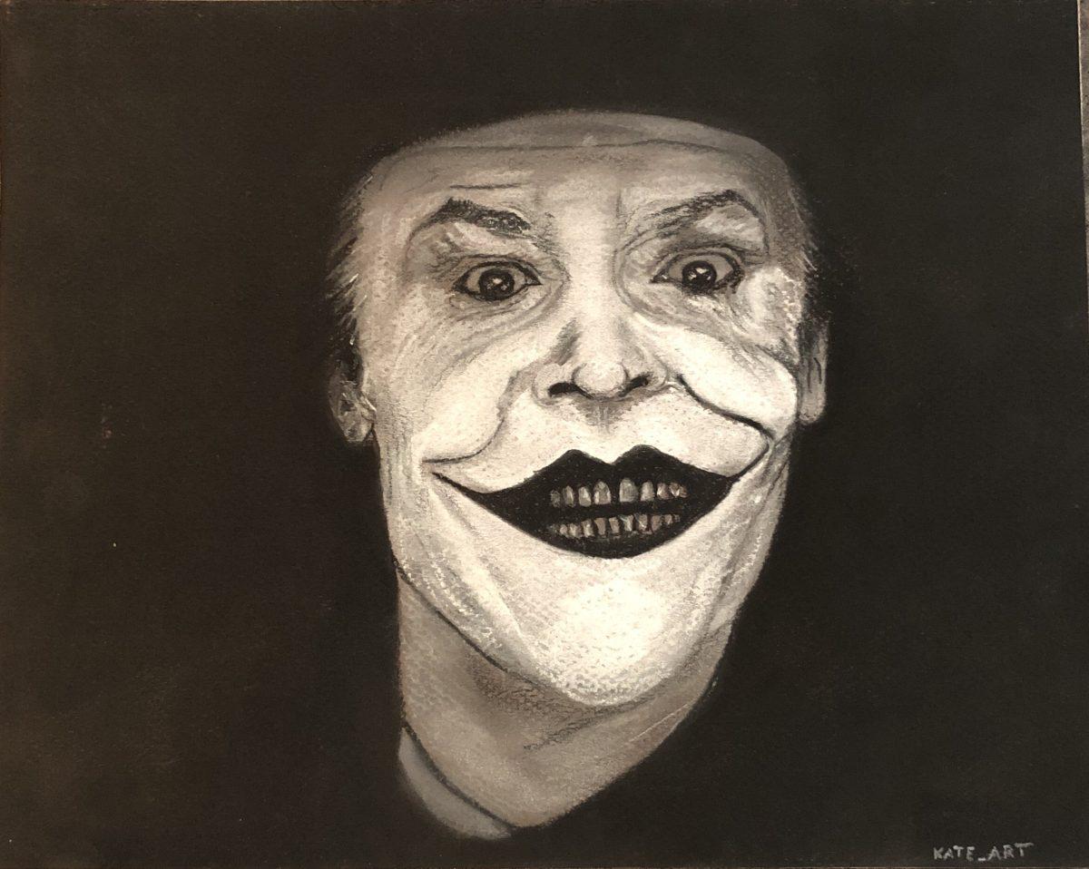 Joker en noir et blanc Réalisé par Katarzyna Boduch en pastels secs, signé Kate_Art