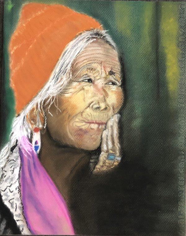 Vieille Indienne Dessin aux pastels sec de Kate_Art Galerie