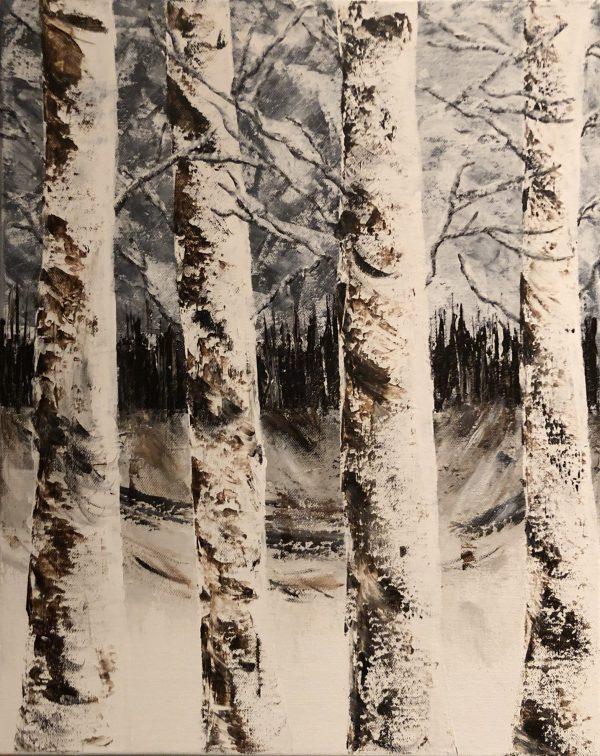 forêt enneigée tableau de Kate_Art Galerie