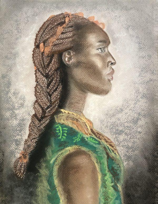 Africaine c'est un dessin fait aux pastels sec par Katarzyna Boduch, créatrice de Kate_Art Galerie