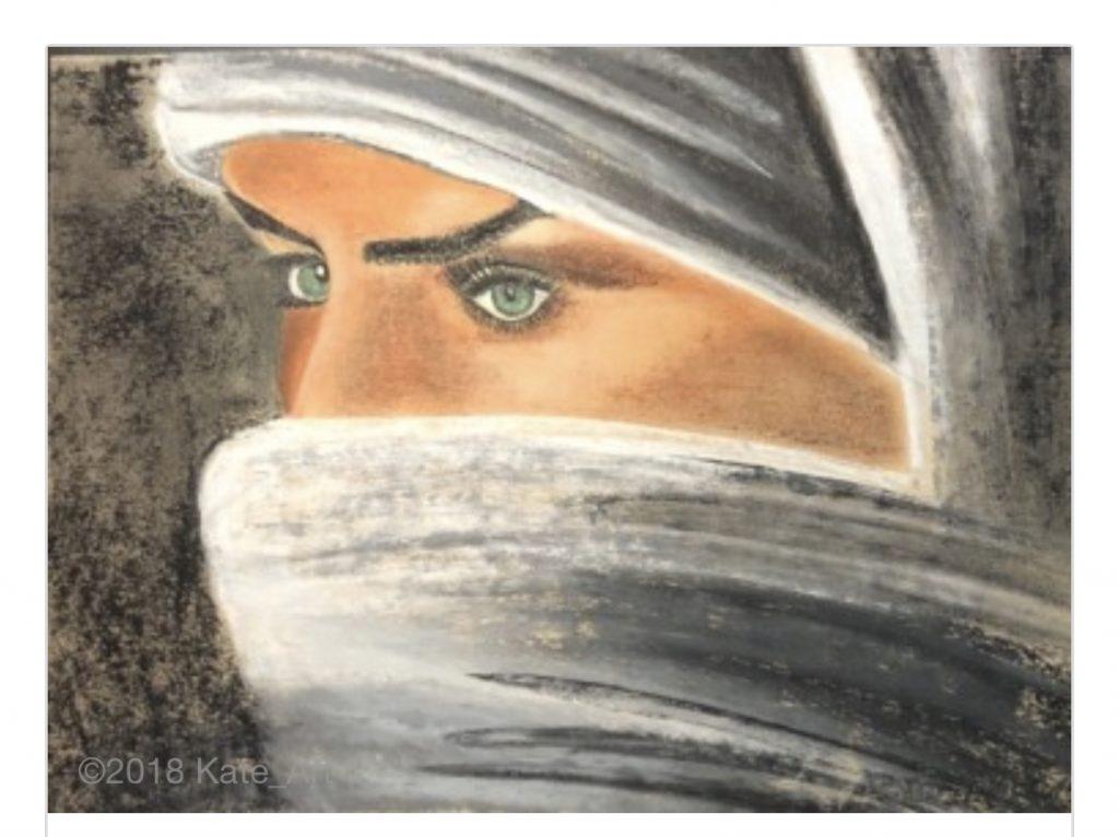 Femme du désert réalisé aux pastels secs par Katarzyna Boduch