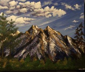 Les montagnes sous les nuages réalisé par Katarzyna Boduch sur toile en coton au couteau