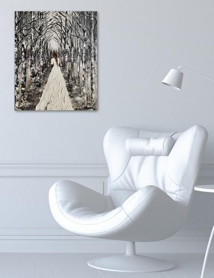 La mariée dans la forêt enneigée salon