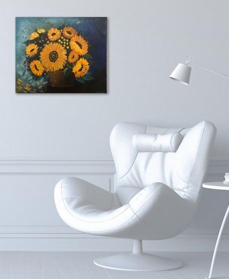 Bouquet of sunflower, tableau exposé sur le mur du bureau