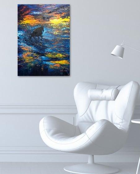 Galopant dans la vague au coucher de soleil, photo du tableau exposé sur le mur du bureau