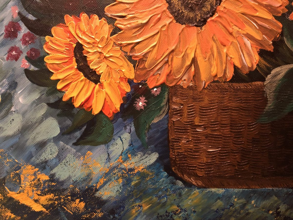 Bouquet of Sunflower, gros plan sur le côté gauche bas du tableau, abstrait