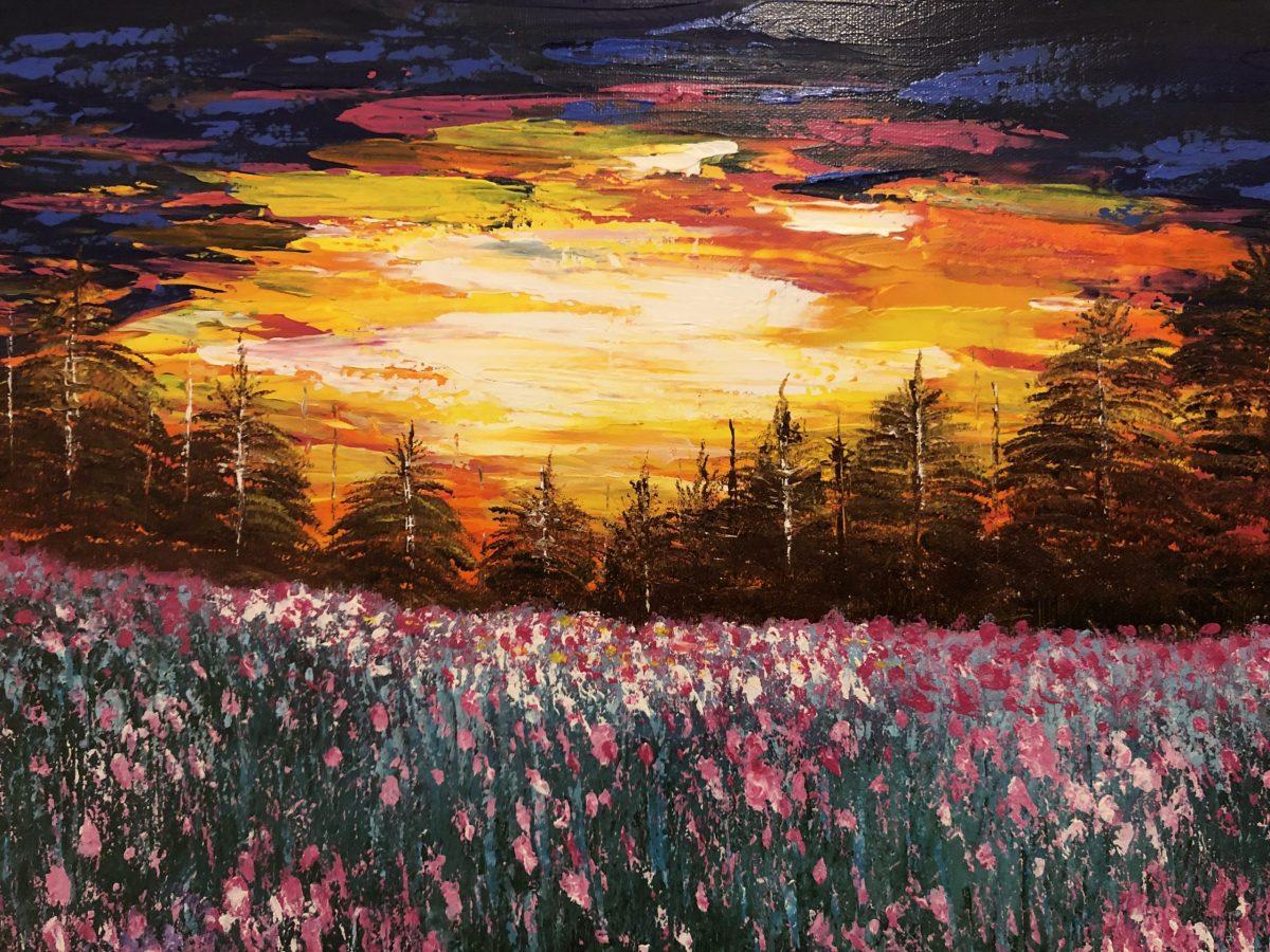 Coucher de soleil sur le champ fleuri, haut sur le ciel