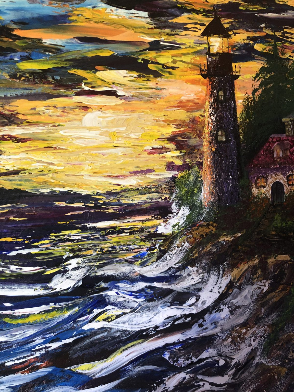 The Lighthouse under the waves, les vagues