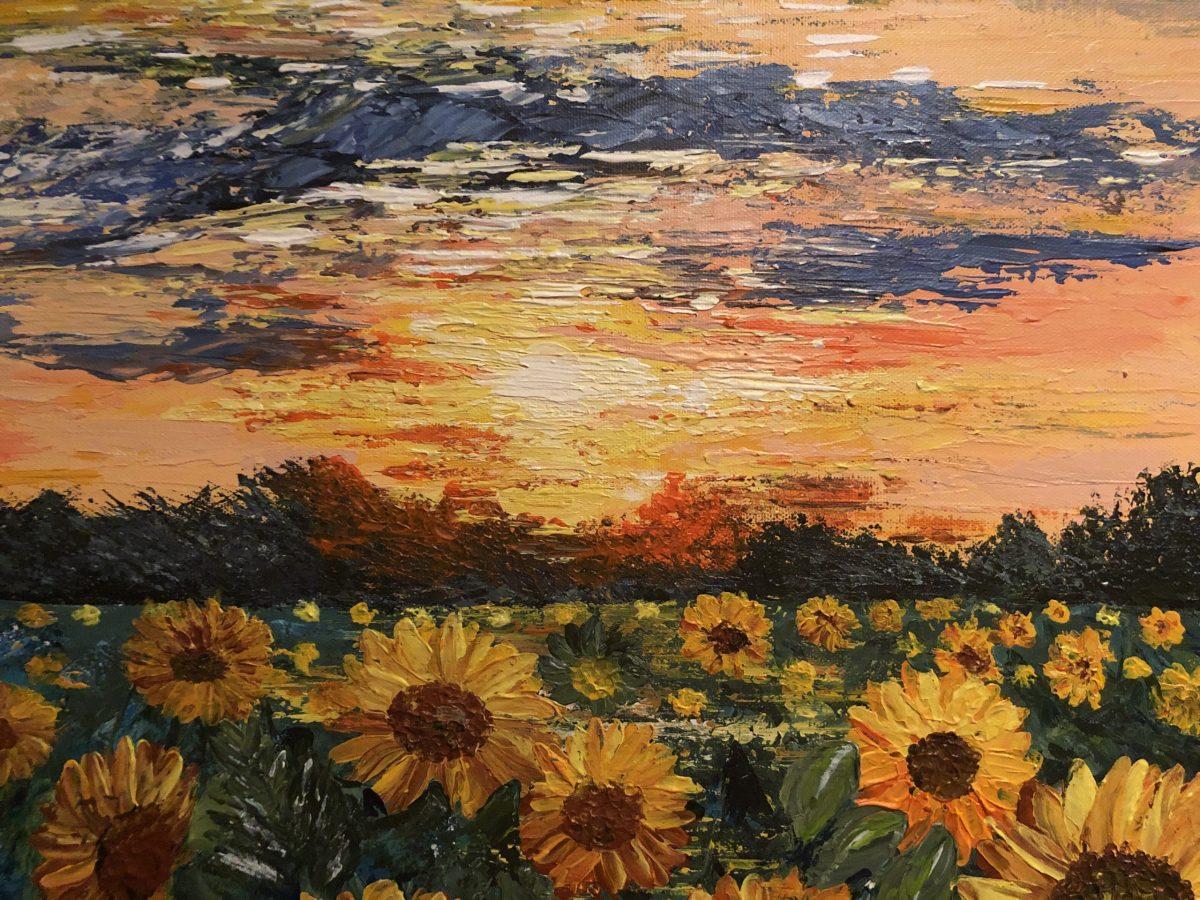 Sunflower Fields, gros plan sur le soleil couchant, texture