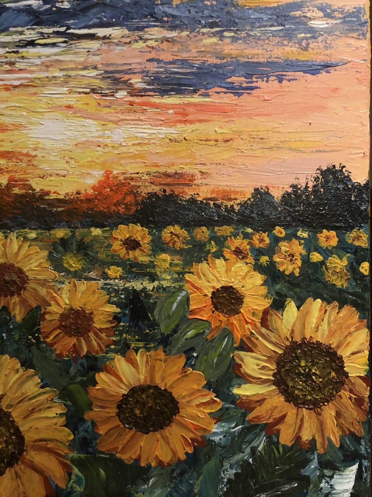 Sunflower Fields, gros plan sur les tournesols et le soleil couchant, texture fait au couteau à palette