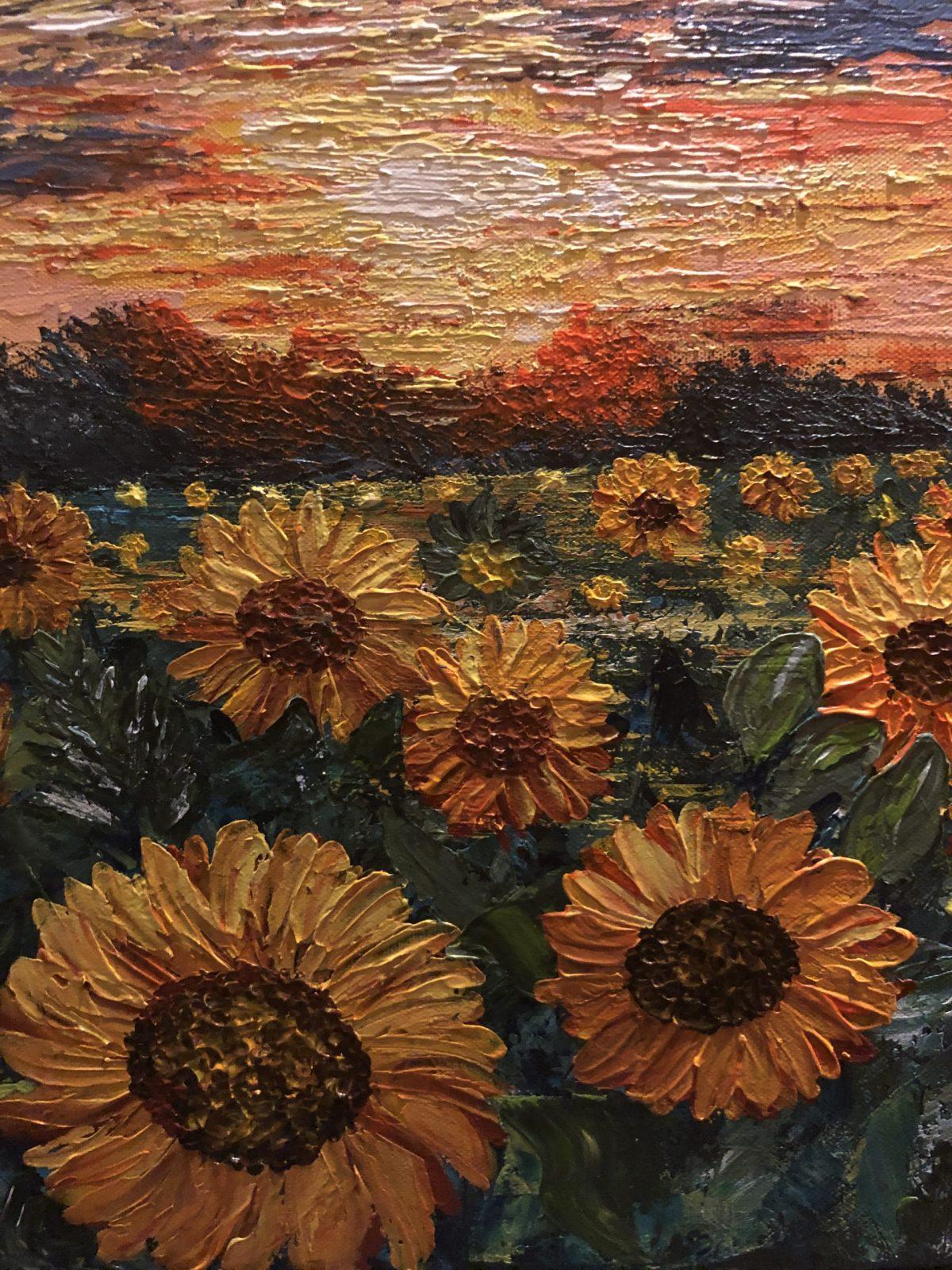 Sunflower Fields, gros plan sur les tournesols, texture