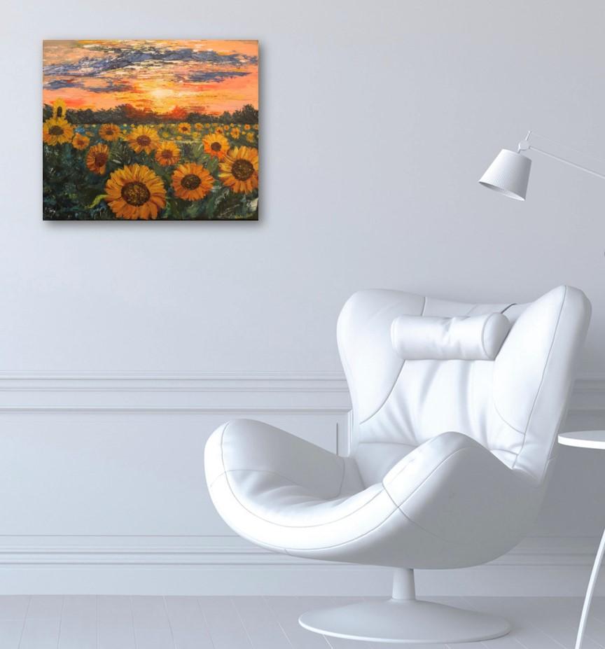 Sunflower Fields - tableau exposé sur le mur du bureau