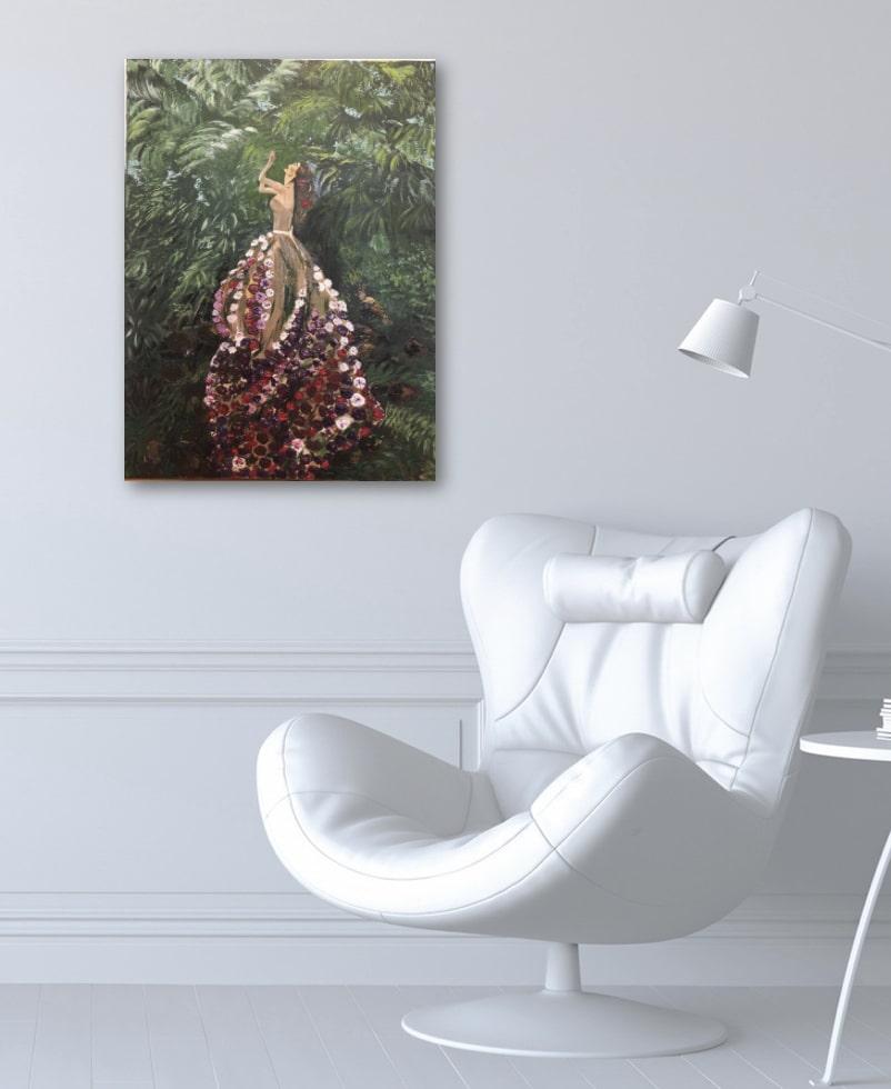 """Une femme fleuri au jardin tropical"" tableau exposé sur le mur de bureau"