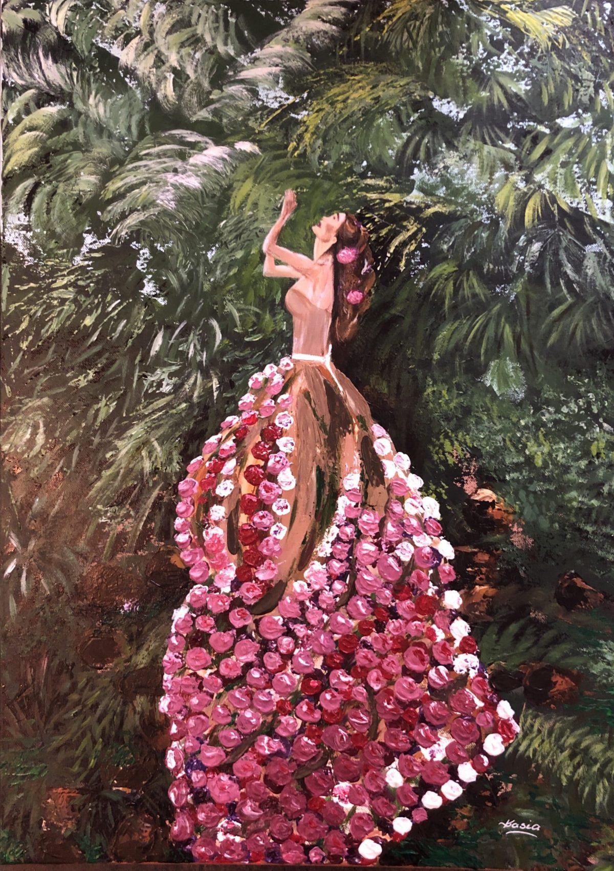 "Une femme fleuri au jardin tropical"" signé Kasia, Kate_Art de l'artiste Katarzyna Boduch"
