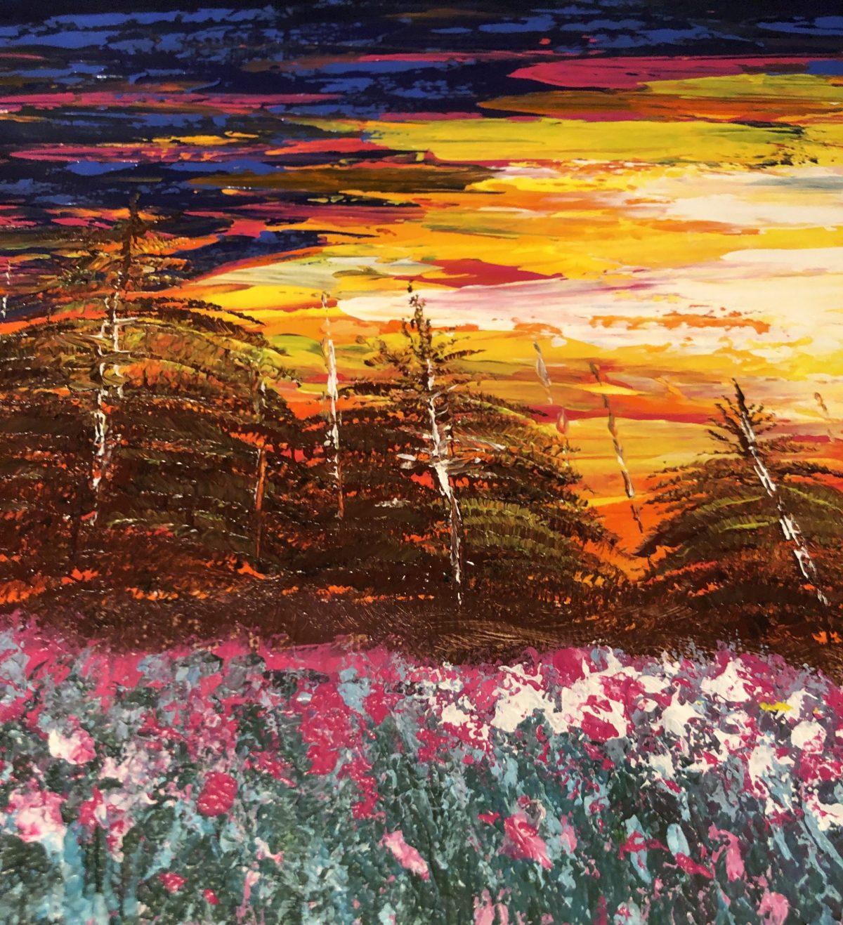 Coucher de soleil sur le champ fleuri, côté gauche du tableau